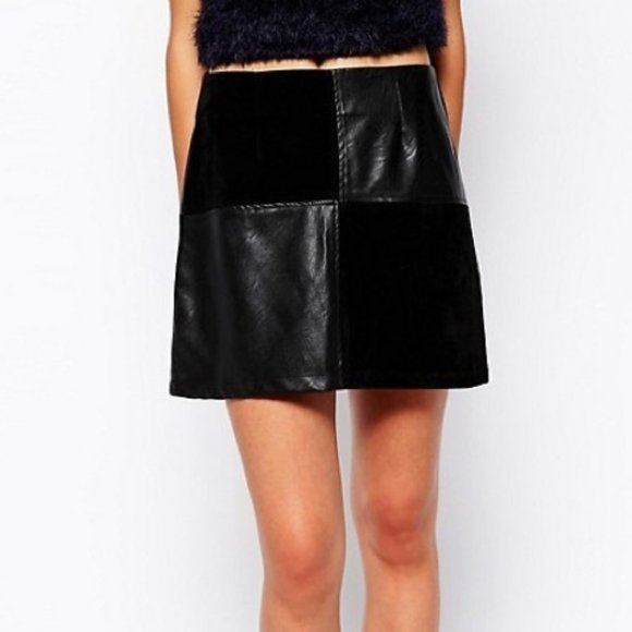 MINKPINK Faux Leather & Faux Suede Mini Skirt